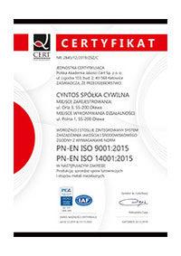 PN-EN ISO9001:2015 i 14001:2015